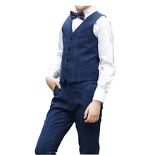 2019 New Boys Plaid Wedding Suits Top Quality 4Pcs Children Formal Costume Suit for Graduation Kids Formal Suits Size 3-14T 4pcs plaid