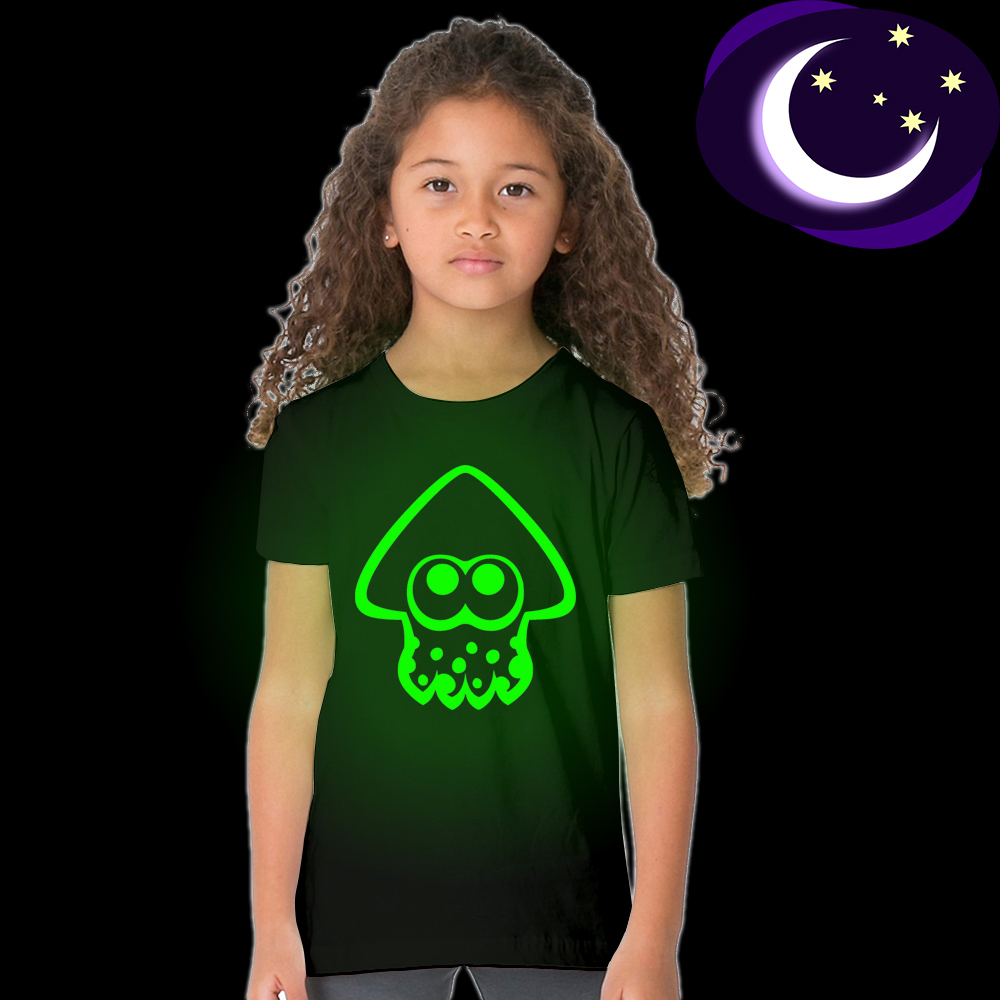 Glow In Dark Luminous Fluorescent Splatoon Squid Child T Shirt for Toddler Baby Boys Girls Splatoon Squid Summer Clothes Infant luminous wonder woman kid girl t shirt glow in dark cartoon print baby clothes child tee short sleeve o neck t shirt fluorescent