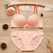 976c80fc4a BONJEAN Women 3 4 Cup Girls Striped Wire Free Bra Panties Briefs Sets push  up