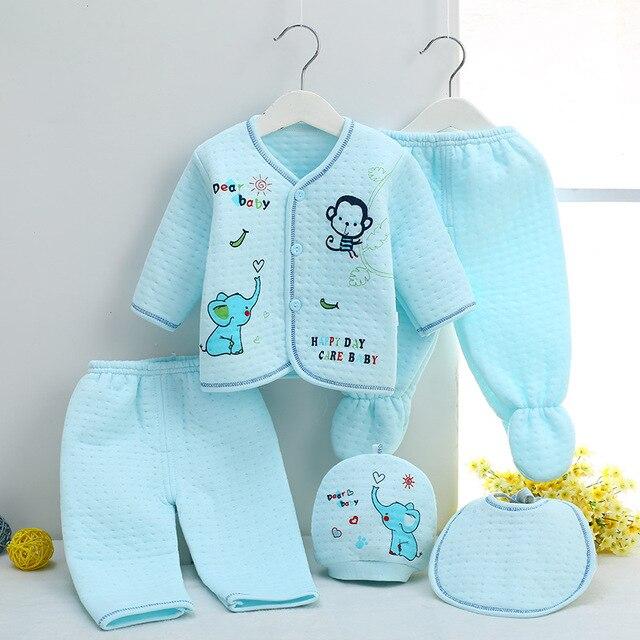 9edece037dcb Winter Keep warm newborn baby 5pcs Cartoon printing baby Clothes ...