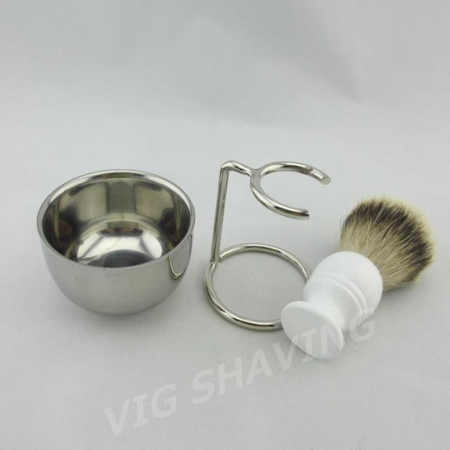 Double Stainlessshiny  shaving bowl  Silvertip badger shaving brush resin handle with metal stand ST304BLWH