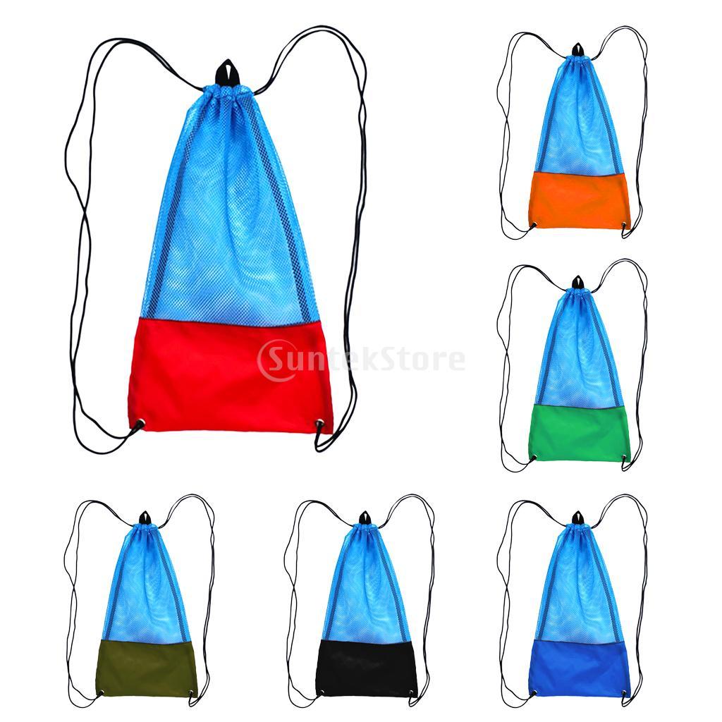 Durable 20 kg buceo Snorkel engranaje gafas máscara aletas de almacenamiento llevar bolsa de malla de dibujar cadena con hombro correa