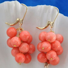 Благородная 3-4 мм круглая розовая Коралловая Серьга-невеста натуральный камень 925 пробы серебряные свадебные украшения, серьги