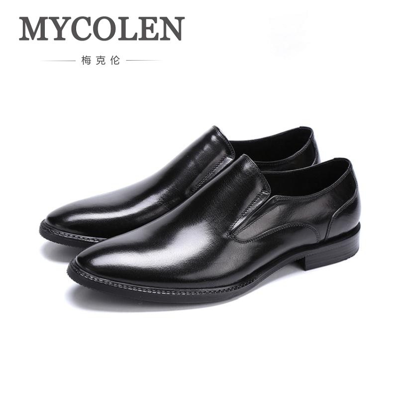 MYCOLEN Brand Fashion Men Dress Shoes Slip-On Genuine Leather Men'S Shoes Wedding Shoes Comfortable Formal Male Shoes Big Code