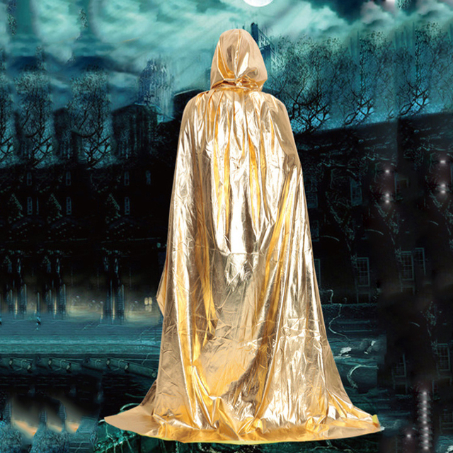Party & Holiday DIY Decorations Halloween Costume Wizard Cape Mopping Adult Grim Reaper Black Red Silver Golden Cloak 5