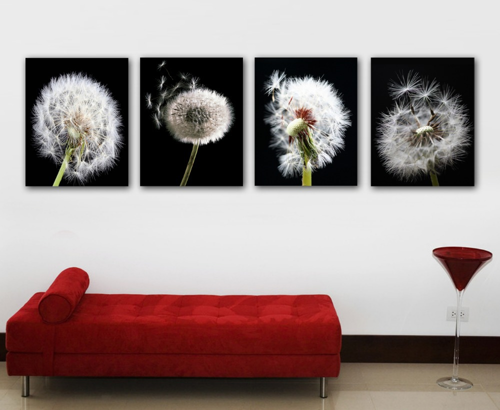 4 pieces canvas wall art modern dandelion flower oil for Cadre floral mural