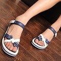 Bowtie Casual Zapatos Sandalias de Las Mujeres 2016 Nuevo Vietnamita Rosa Azul Zapatos Cuñas Zapatos de Plataforma de Verano