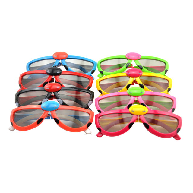 (3 pieces/lot) Colorful Foldable Kids 0.72mm Circular Passive Polarized Children 3D Glasses for 3D RealD Cinemaand LG 3D TVs