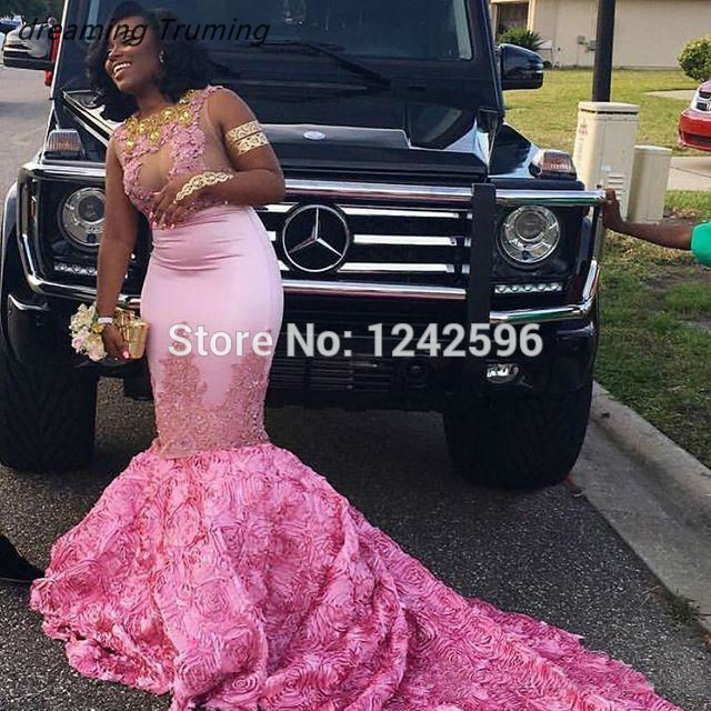 Robe De Soiree 2019 African Prom Dress Mermaid Pink See Through Handmade Flower Appliques Lace Black Girl Evening Gown Dress