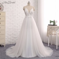 Sheer Illusion Wedding Dresses Vestido De Noiva 2017 A Line Handmade Flower Tulle Bridal Gown With
