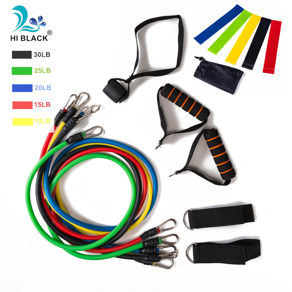 Resistance Band Set 17Pcs Gym Strength Training Rubber Loops Band Workout Fintess Exercise Bands Door Anchor Ankle Strap image