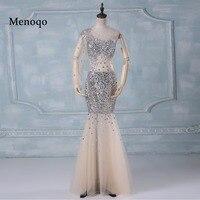 Menoqo SML1450 Сексуальная See Through Русалка тяжелых бисером тюль Chic один рукав длина пола длиной 2017 Реальный образец платье для выпускного вечера