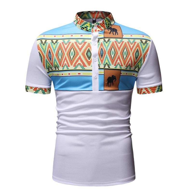 NPRADLA Polo Shirts T-Shirt Mens Summer Handsome African Print Muscle Pullover Short Sleeve Shirt Top Blouse