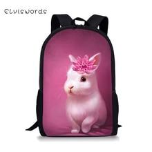 ELVISWORDS School Bags for Kids Adorable Small Rabbit Printing Children Backpacks Schoolbag Students Bookbag Orthopedic