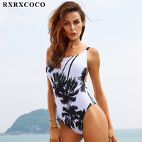 2017 New Sexy Halter Straps Women Swimwear Palm Trees Printed One Piece Swimsuit Bathing Suits Plus