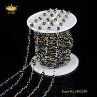 4mm 5 Meters Sale Dark Blue Iron Pyrite Faceted Round Chains Bracelet Wire Wrapped Brass Links