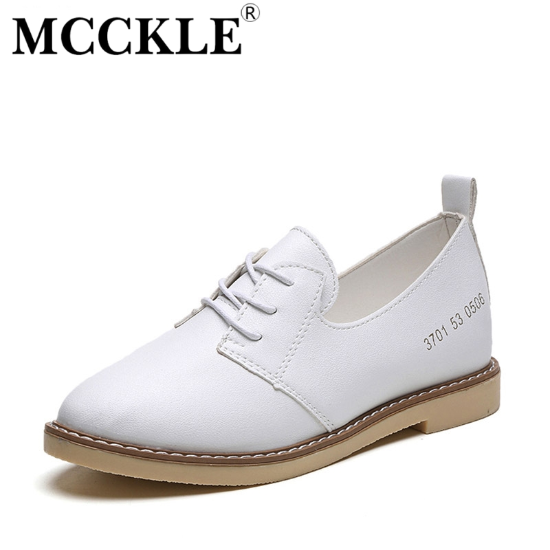 MCCKLE 2017 New Fashion Women Shoes Flat Woman Round Toe Lace-up Platform Black Ladies Casual Comfortable Spring&Autumn mcckle 2017 fashion woman shoes flat women platform round toe lace up ladies office black casual comfortable spring