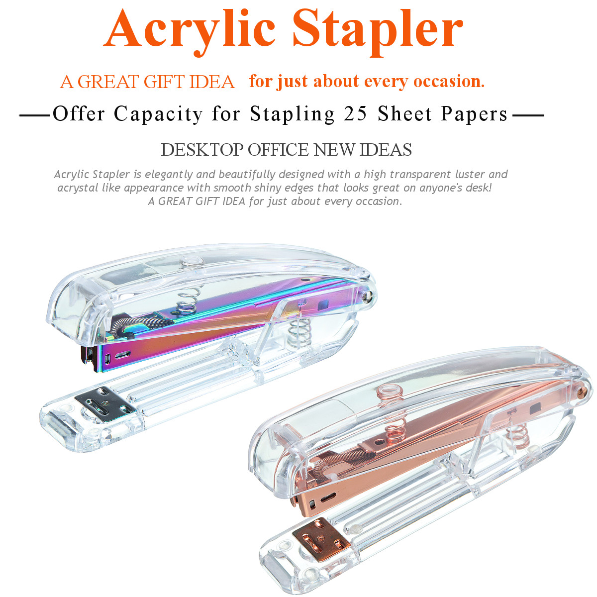 Colorful Rose Gold Transparent Stapler Edition Metal Manual Staplers Office Accessories School Stationery Supplies
