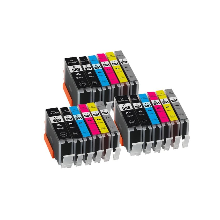 Чернильный картридж CLI 551 BK C M Y GY, 6 цветов, совместимый с чипом для принтеров canon PIXMA MG6350 MG7150 MG7550 IP8750
