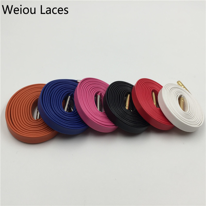 100pairs Lot Weiou Hot Hottest 100 Genuine Flat Luxury Sheepskin Leather Shoelaces 7 colors Metal