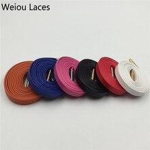 (100 짝/몫) Weiou Hot 가장 인기있는 100% 정품 플랫 럭셔리 양모 가죽 신발 끈 7 색 금속 팁 끈 DHL 무료 배송