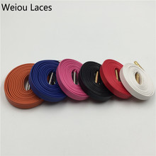 (100pairs/Lot)Weiou Hot Hottest 100% Genuine Flat Luxury Sheepskin Leather Shoelaces 7 colors Metal Tips Laces DHL FREE SHIPPING