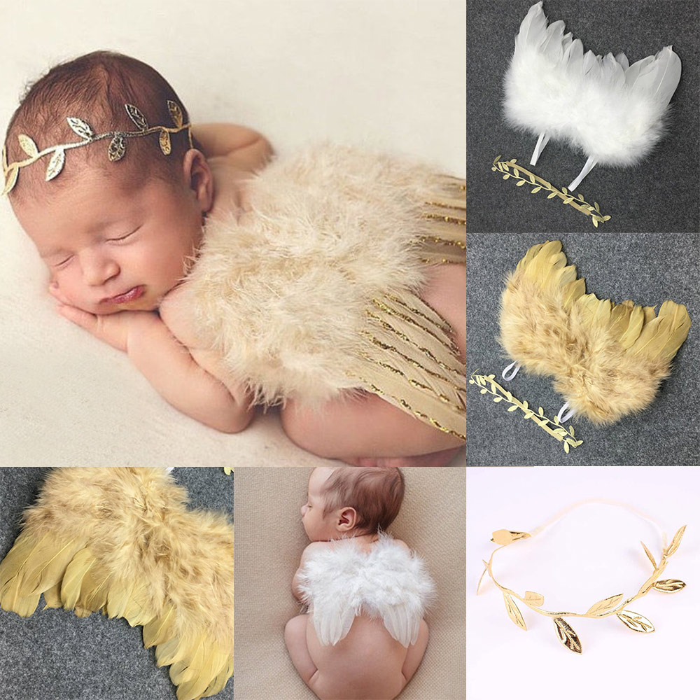 Kids Cute Angel Wing Newborn Photography Props Soft Baby Girls Boys Feather Clothes Skirt Set Baby Hat Infant Outfit Fotografia