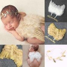 Милый детский реквизит с крыльями ангела для новорожденных; мягкая одежда с перьями для маленьких девочек и мальчиков; комплект с юбкой; детская шапочка; наряд для фотосессии