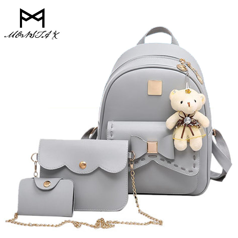 Monsta x Fashion Backpack Women Pu Leather Back Pack Famous Brand School Bags for Girls sac a dos femme with Purse and Bear 2017