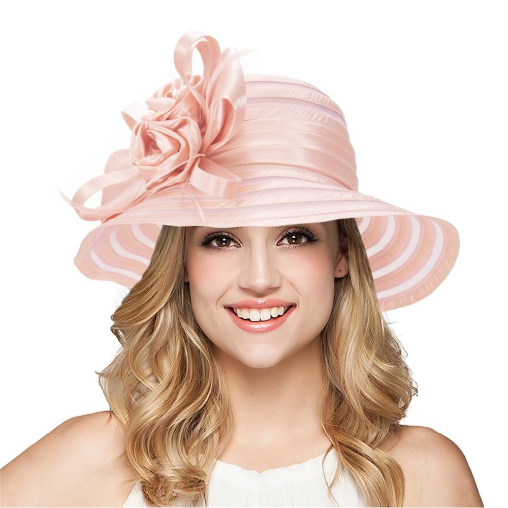 Elegantní letní čepice pro dámské široké lemovací čepice dámské plážové floppy klobouky ženské církevní klobouky církevní svatební saténové stuhy klobouky A214