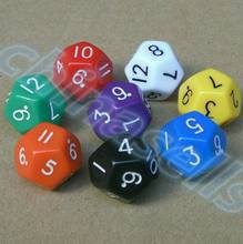 200pcs 18mm creative 12 surface fun board game dice colorful digital dice multi-faceted action entertainment dice цена и фото
