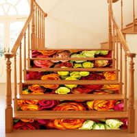 ZUCZUG 6pcs Waterproof Stairway Stickers Flowers Series DIY Staircase Floor Wall Decor Removable Home Decoration 3D Sticker Rose