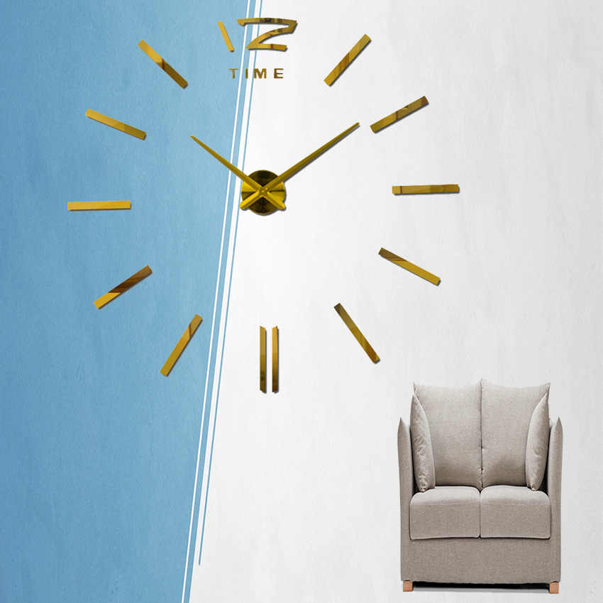 Reloj de pared grande 3d 2018, Venta caliente, pegatina de espejo apresurada, decoración de sala de estar, relojes de moda, relojes de cuarzo, pared vintage