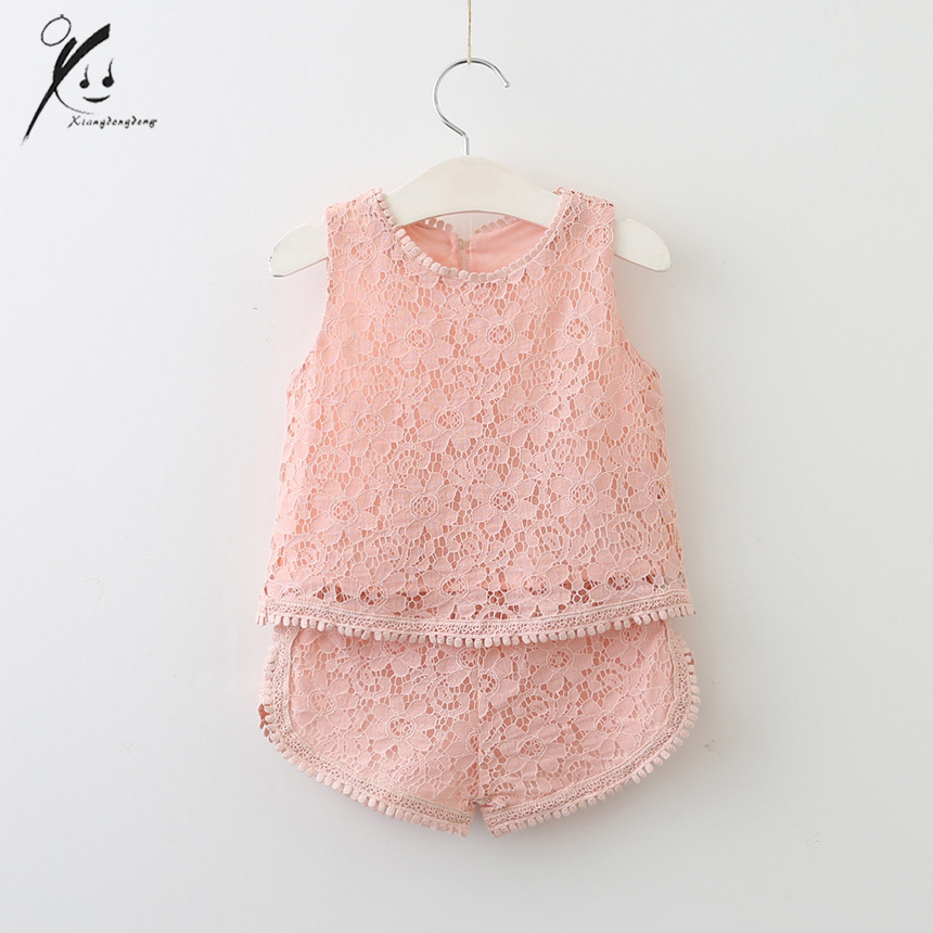 Toddler Girls Kids Clothes Summer Cute Sets Fashion 2PCS Baby Girl Lace Floral Vest Tops Pants Outfits XDD-705091 baby girls summer suits sleeveless vest shirt cute floral harem pants floral sets