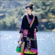 Китайская Этническая Вышивка Топ Женская куртка зимнее длинное хлопковое пальто