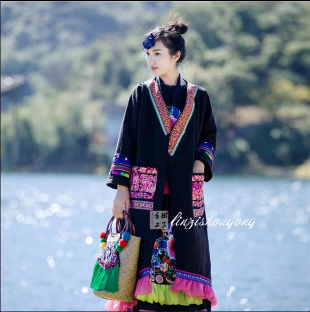 Chinois ethnique broderie top femmes veste hiver Long coton manteau