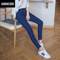 Grundlegende 5-Pockets Mittlere Taille Skinny Jeans Für Frauen 2017 Femme EINFACH ZU TRAGEN Slim Fit Stretch Jeans Frau Schwarz Grau Blau