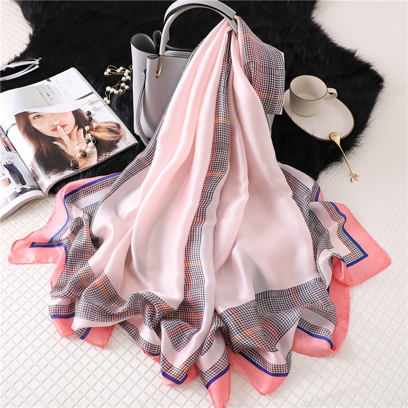2019 new solid plaid silk   scarf   women long neck   scarves   large pashmina lady foulard bandana winter   scarf   hijab shawls and   wraps