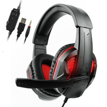 Head-Mounted Gaming Headset For PS4 LED Glowing 3.5mm Wired Noise Cancelling Game Headphones With Microphone