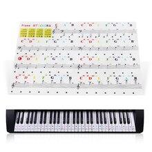 1pc transparente piano teclado etiqueta 88/61/54/49 chave teclado eletrônico chave piano stave nota etiqueta para teclas brancas musical