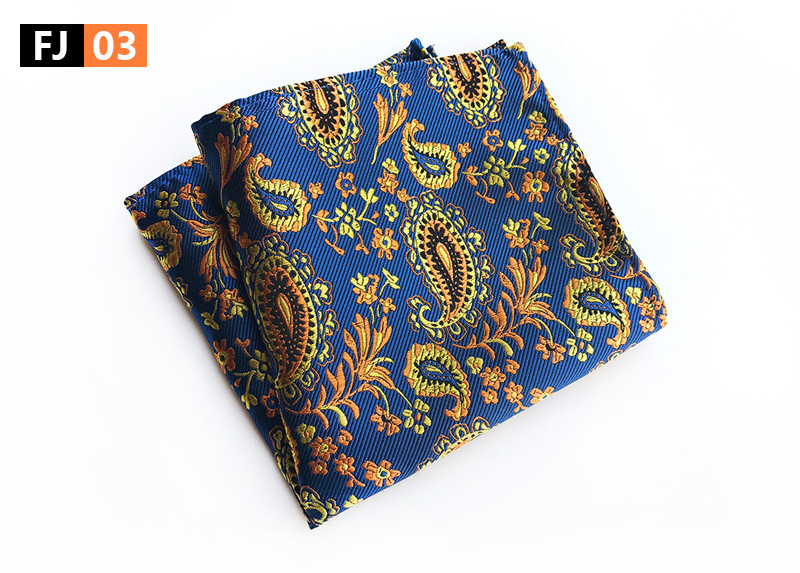 25x25cm Big Size Men Pocket Square Blue Gold Paisley Handkerchief
