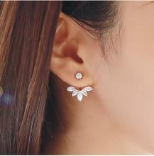 Aliexpress Hot Sale Trendy Popular Clear Crystal Rhinestone Flower Shaped Stud Earrings Double Side Earrings
