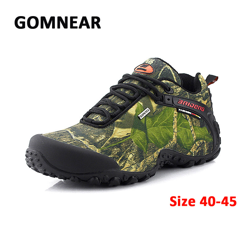 Waterproof Hiking Shoes Men Canvas Hiking Boots Outdoor Sports Shoes Mountain Climbing Camouflage Fishing Camping Sneakers