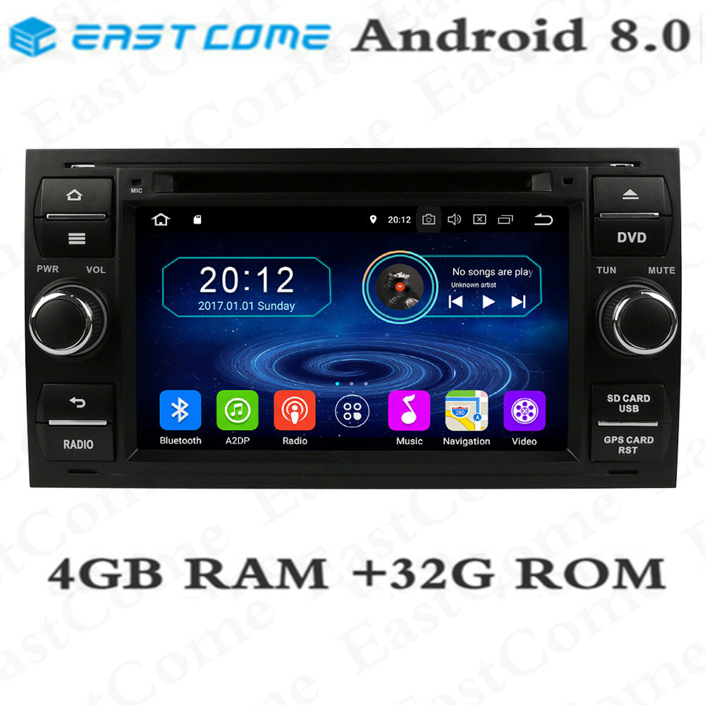 IPS 4 GB RAM 32 GB ROM Octa Core Android 8.0 lecteur DVD de voiture pour Ford Mondeo Connect Kuga Focus 2 S C MAX Radio GPS Navigation