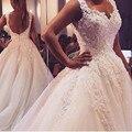 Vestido de Casamento de luxo Vestidos de Baile 2015 Querida Backless Apliques Vestido de Casamento Lantejoulas Sem Mangas Vestidos de Noiva