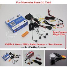 Liislee Car Parking Sensors + Rear View Back Up Camera = 2 in 1 Visual / BIBI Alarm Parking System For Mercedes Benz GL X166