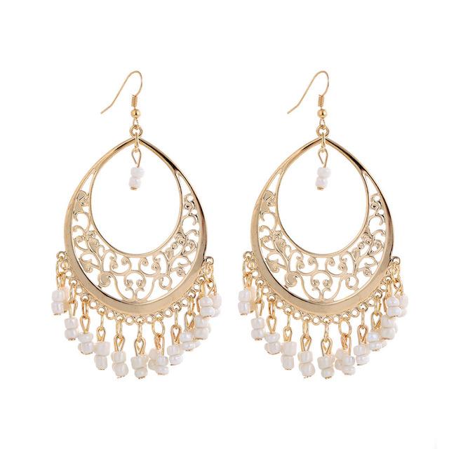 Min. order is 9 usd (can mix) Bohemia Style Indian Retro Beads Tassel Earrings Dangle Drop Earrings for Women Jewelry