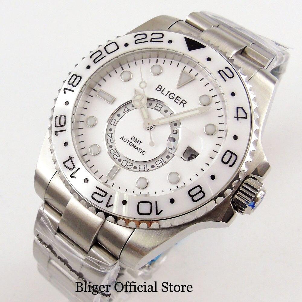 Saatler'ten Mekanik Saatler'de 43 MM BLIGER Beyaz Kadran Safir Cam GMT Ekran erkek saati Seramik Çerçeve Tarih relojes hombre 2018 Otomatik hareket saatleri'da  Grup 1
