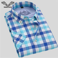 Visada jauna الرجال قميص منقوش قصيرة الأكمام عارضة فستان ماركة الملابس الأعمال سليم camisa الغمد الاجتماعي زائد حجم 4xl n564