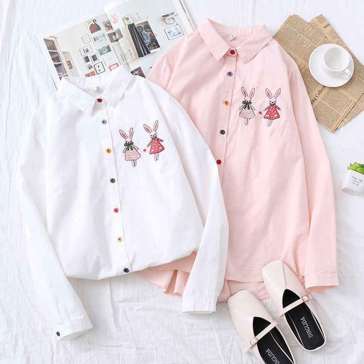 Kyqiao Women Pink Shirt 2019 Mori Girls Autumn Spring Japanese Style Peter Pan Collar Long Sleeve Print Blouse Blusas Femininas Blouses & Shirts